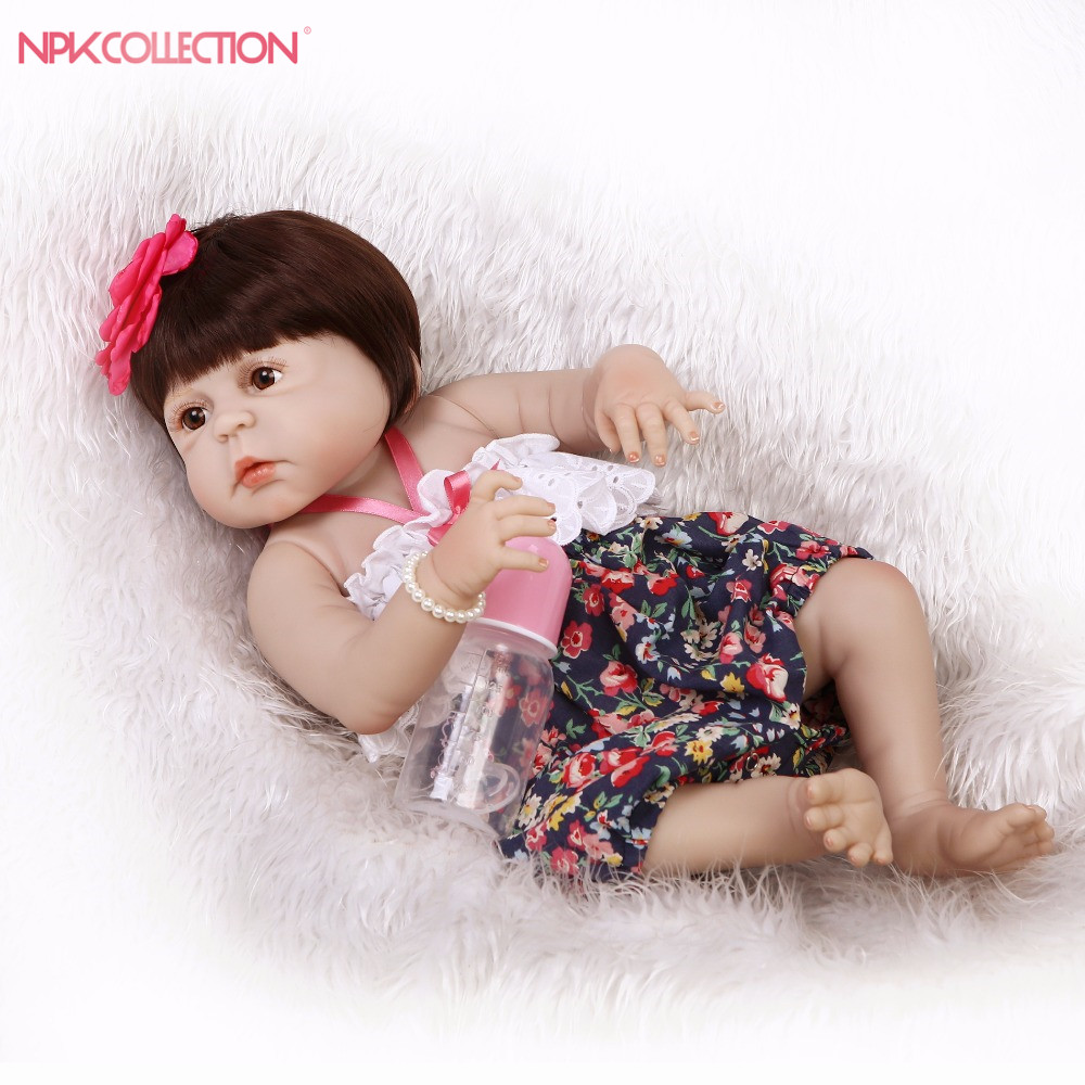 NPKCOLLECTION 57 New Design Lovely New Born Baby Girl Doll Toy 22'' Realistic Reborn Dolls Silicone Vinyl Full Body Alive bebe fluorescence yellow high visibility