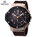 MEGIR Chronograph Multifunction Men Sport Watch Silicone Army Military Gold Luxury Watches Men Top Brand Quartz Wristwatch