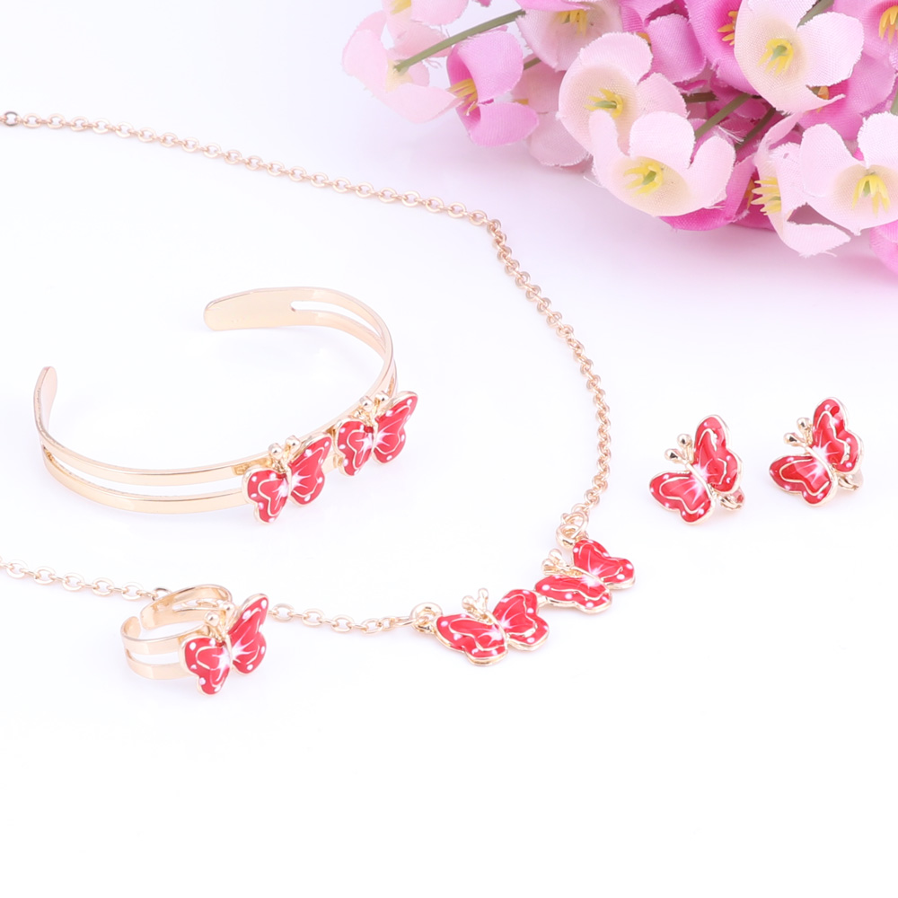 Children's Butterfly Necklace, Earrings, Bangle Bracelet and Ring Set