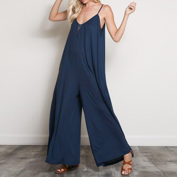 2019 ZANZEA Summer Rompers Women Straps Jumpsuits Loose Casual Sexy V Neck Overalls Solid Sleeveless Wide Leg Pants 1