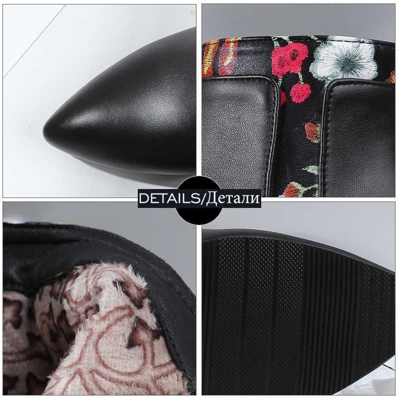 WETKISS Baskı Ayak Bileği Kadın Çizmeler Sivri Burun Ayakkabı Yüksek Topuklu Kadın Çizme Zip Ayakkabı Kadın 2018 Kış Artı Boyutu 33 -47