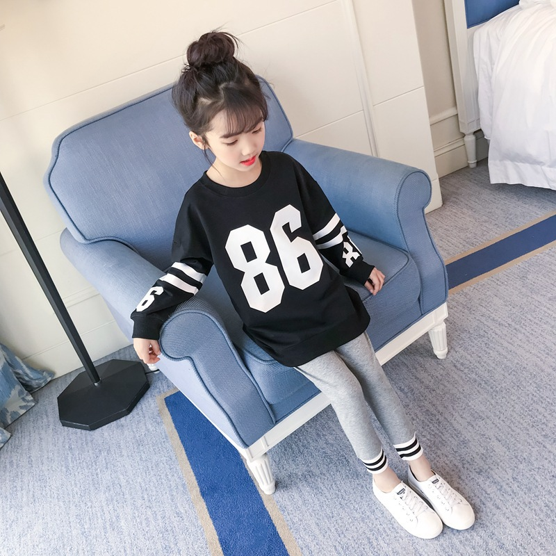 Clothes Set For Girls Teenagers Autumn 2018 School Letter T Shirt + Leggings 2pcs Kids Clothing 4 5 6 7 8 9 10 11 12 13 Years blouse for girls autumn clothes for teenagers 8 9 10 11 12 13 years slash neck flower girls blouse white top shirt camisa xadrez