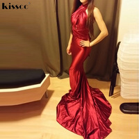 2017 Sexy Halter Red Shiny Satin Mermaid Long Party Dress Bodycon Floor Length DIY Straps Hollow