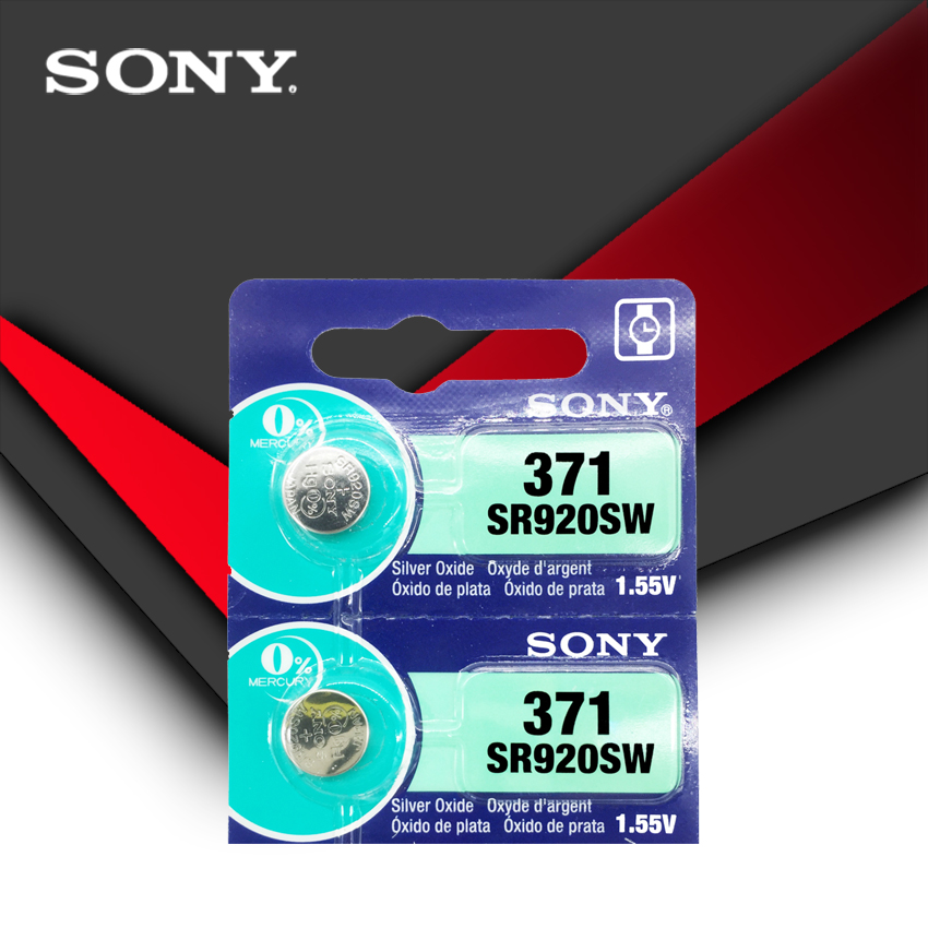 2pcs Sony 100% Original <font><b>371</b></font> SR920SW 920 1.55V Watch <font><b>Battery</b></font> SR920SW <font><b>371</b></font> Button Coin Cell MADE IN JAPAN image