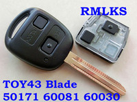 RMLKS For Toyota Remote Key 50171 60030 60081 433MHz 304.2MHz With 4C 4D67 Chip Fit For Camry Prado Corolla 2 Button TOY43 Blade