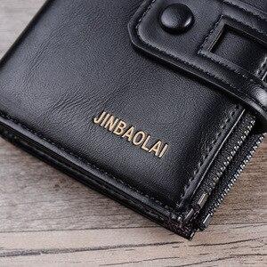 Image 4 - 2019 erkek cüzdan kısa PU deri çift fermuarlı Hasp erkek cüzdan kart tutucu para cebi Vintage yüksek kaliteli marka erkek cüzdan