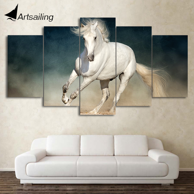 HD Printed 5 Piece Canvas Art White Running Horse Painting Wall ...
