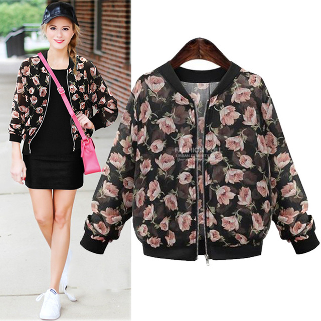 f5267ab4c7b XXXL 4XL 5XL Plus Size Women Bomber Jacket 2016 Summer Vintage Floral  Printed Long Sleeve See-through Chiffon Blouson Kimono