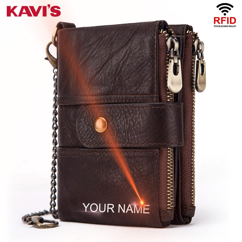 KAVIS Genuine Leather Free Engraving Rfid Wallet Men Crazy Horse Wallets Coin Purse Short Male Money Bag Mini Walet  Quality wallet