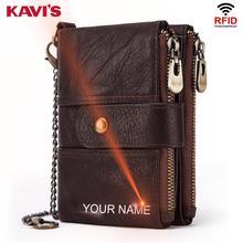 KAVIS Genuine Leather Free Engraving Rfid Wallet Men Crazy Horse Wallets Coin Purse Short Male Money Bag Mini Walet Quality