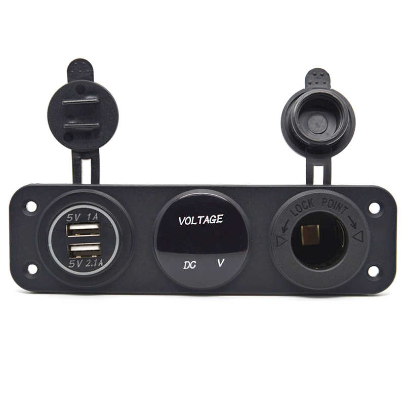 Car Boat Marine 12V 3 Hole Switch Panel Dual USB Charger LED Power Socket Switch 12V Blue Green Red