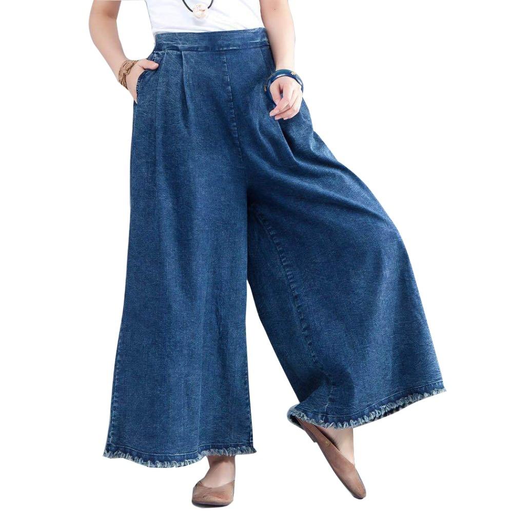 Plus Size Loose Jeans Denim Pants Spring Straight Tassels Women Fashion Wide Leg Pants