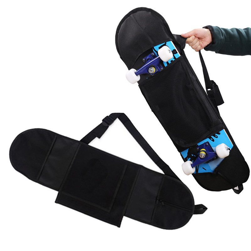 Skateboard Backpack Carry Bag Non Woven Fabric Black Portable Travel Multifunction Durable Practical
