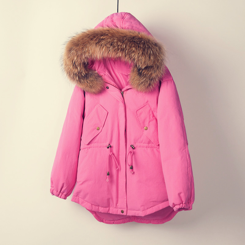 Duvet Green Chaud Pink Parka Canard Réel Femme Blanc Grey Raton De QxBordWCe