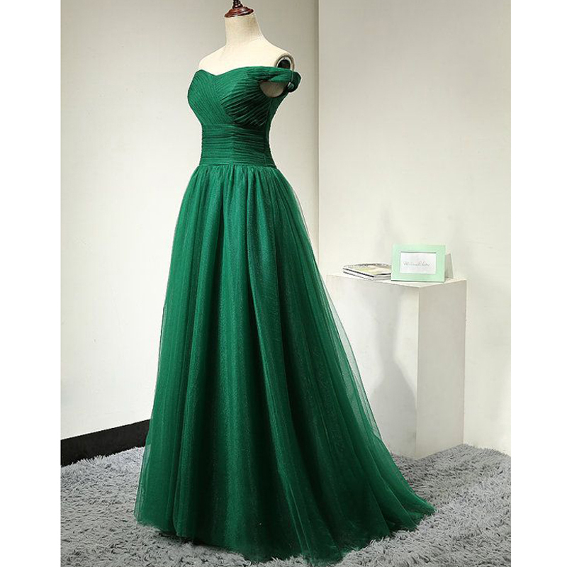 Dresstells Emerald Green Prom Dresses A line Off Shoulder Pleated Floor Length Tulle Plus Size