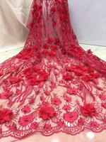 good looking 3d flower bridal lace fabric super quality ZH 11121 embroidered lace fabric
