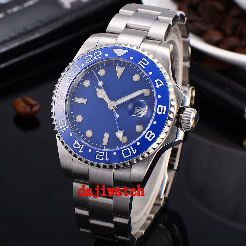 parnis 43mm blue dial stainless steel case Sapphire glass calendar GMT mechanical automatic watch men цена