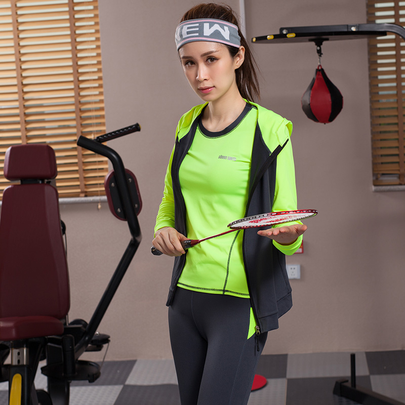 Yoga ensemble femmes Yoga vêtements noir Sport soutien gorge + pantalon + t shirt + manteau 4 pièces Fitness course Sport costume Gym vêtements Sportswear - 5