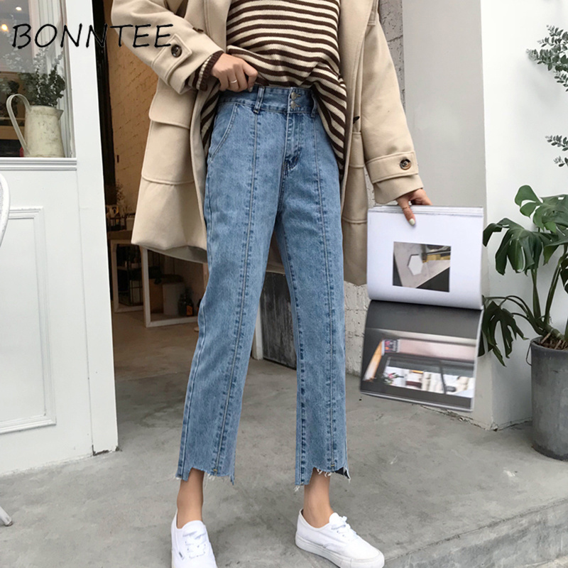 Image 2 - Jeans Woman High Waist Loose Buttons Korean Style Wide Leg Trousers Students Causal High Quality Ripped Denim Female Jean SimpleJeans   -