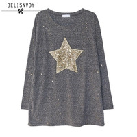 2017 Spring Fashion T Shirt Women Five Pointed Star Sequined Long Sleeve Casual T Shirts Plus