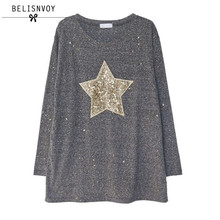 2017 Весенняя мода футболка Для женщин пятиконечная звезда блестками с длинным рукавом Повседневное Футболки плюс Размеры Для женщин топы; футболка Femme