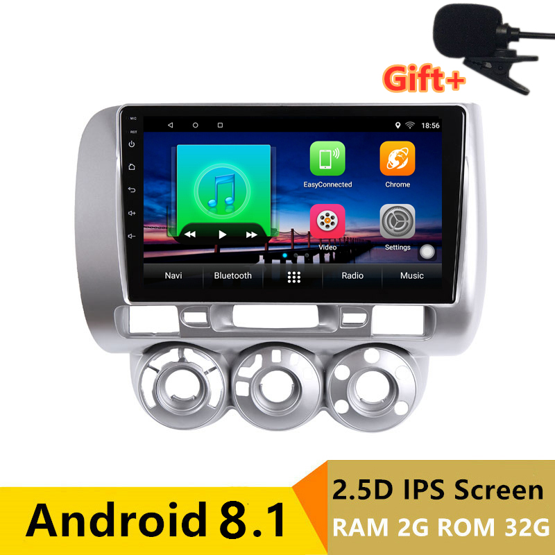 "9"" 2+32G 2.5D IPS Android 8.1 Car DVD Multimedia Player GPS For honda Fit jazz 2004 2005 2006 2007 audio radio stereo navigation"
