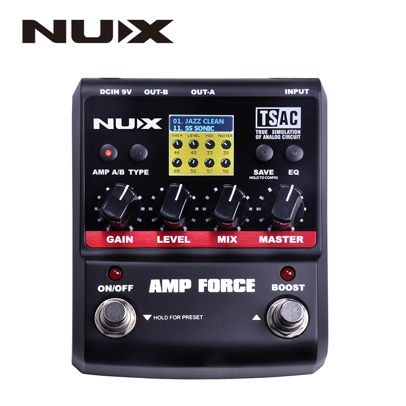 nux amp force guitar effect pedal stomp boxes dsp modeling amp cabinet simulator 9 user presets. Black Bedroom Furniture Sets. Home Design Ideas