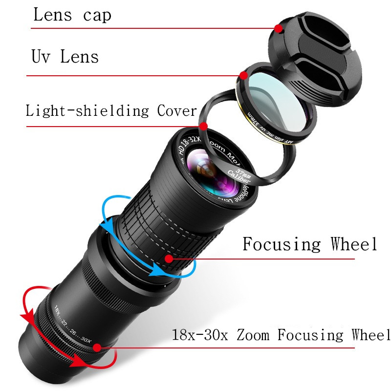 Image 5 - Adjustable Telephoto Zoom Lens 18 30X HD Professional Mobile 
