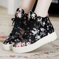 Fashion Brand 2016 Women Canvas Shoes Lace Up Breathable Spring Autumn Women Trainers Shoes Floral Ladies Walking Shoes