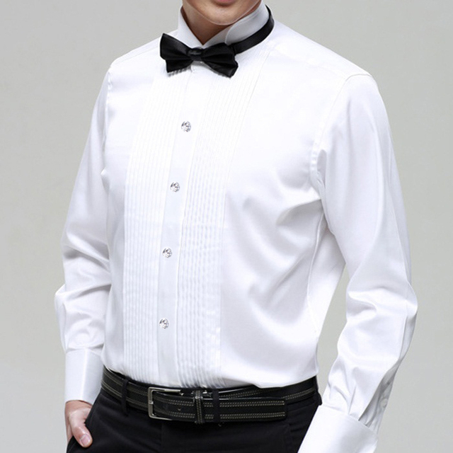 party wedding groom Boys long-sleeve  white male costume shirt collar shirt male clothes for singer dancer formal party bar