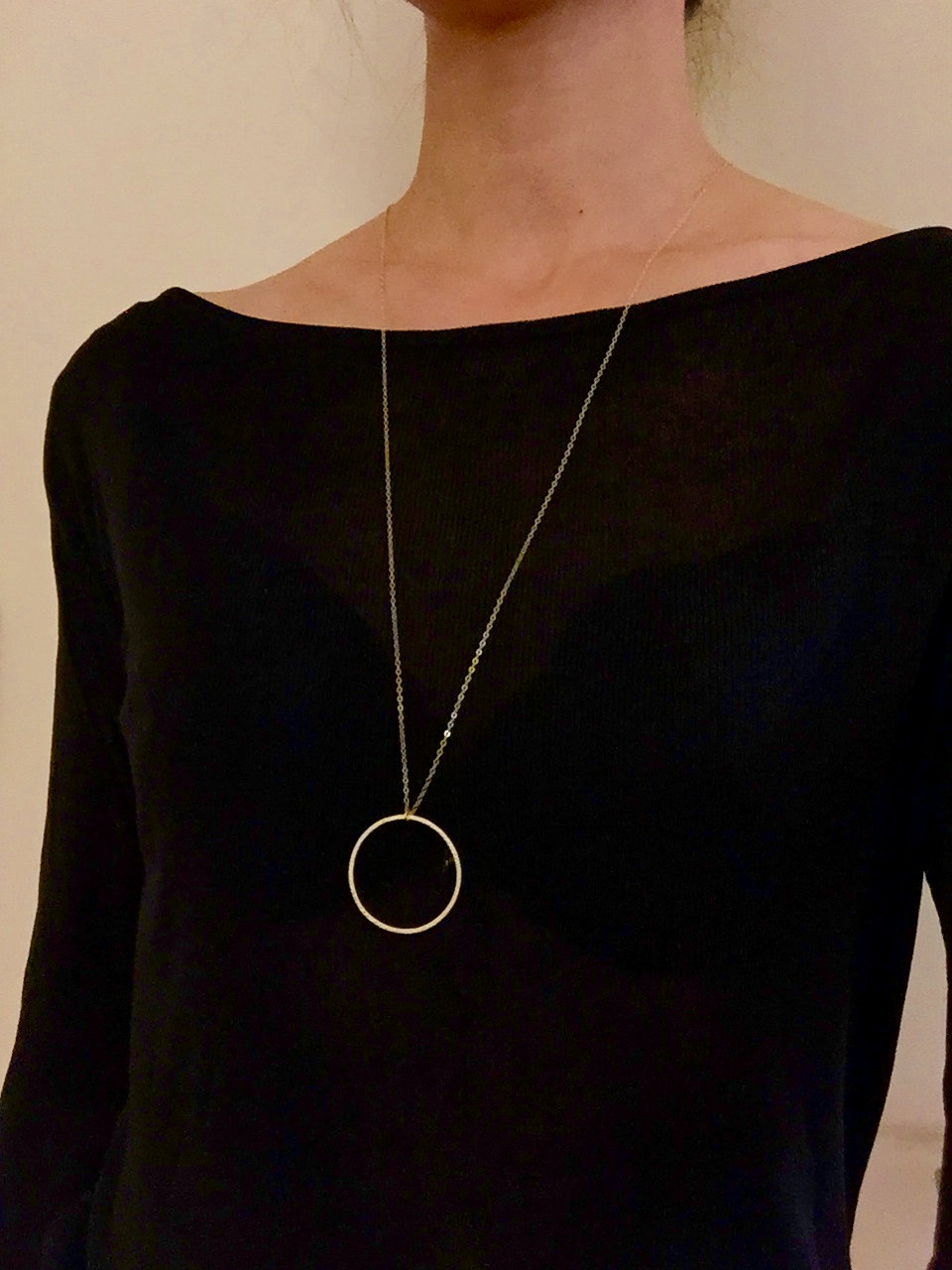 Statement necklace Circle pendant necklace Long necklace jewelry XL153 2