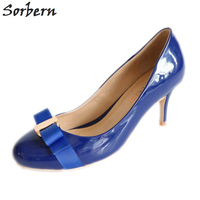 Sorbern Blue Round Toe Women Pumps Size 11 Shoes For Women Ol Heels High Formal Shoes For Women Plus Size Ladys Shoes Classic