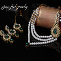 Turkey Luxury Style Rhinestone Gold Plated Wedding Drop Necklace&Earring Unique Headwear For Bridal JewelrySet 4pcs 3Color B0027