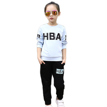 Tribros 2017 Spring Summer Style Baby Girl Clothes Letter O Neck Tracksuit For Girls Costume For