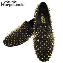 Harpelunde Men Spikes Shoes Dress Leather Rivets Loafers