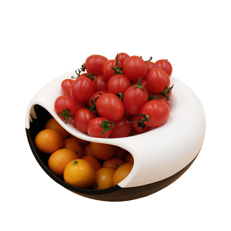 Multifunctional Smile Type Snack Candy Fruit Plate Home Organizer Accessories Supplies Double Deck Storage Boxes