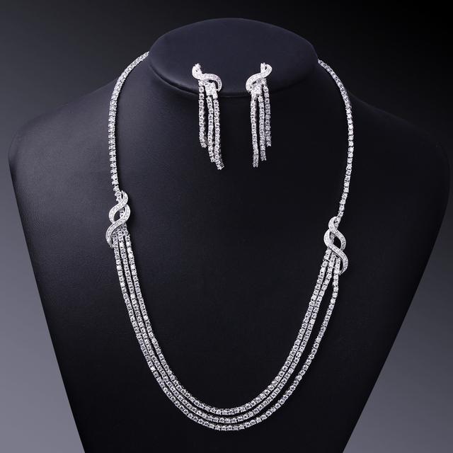 Jóias de luxo para mulheres ouro branco CZ cristal colar e brincos de conjunto Jewerly