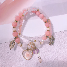 America and Europe pop sweet oceanic holiday bracelet fashion elastic pink crystal beads small pure fresh wind hand act
