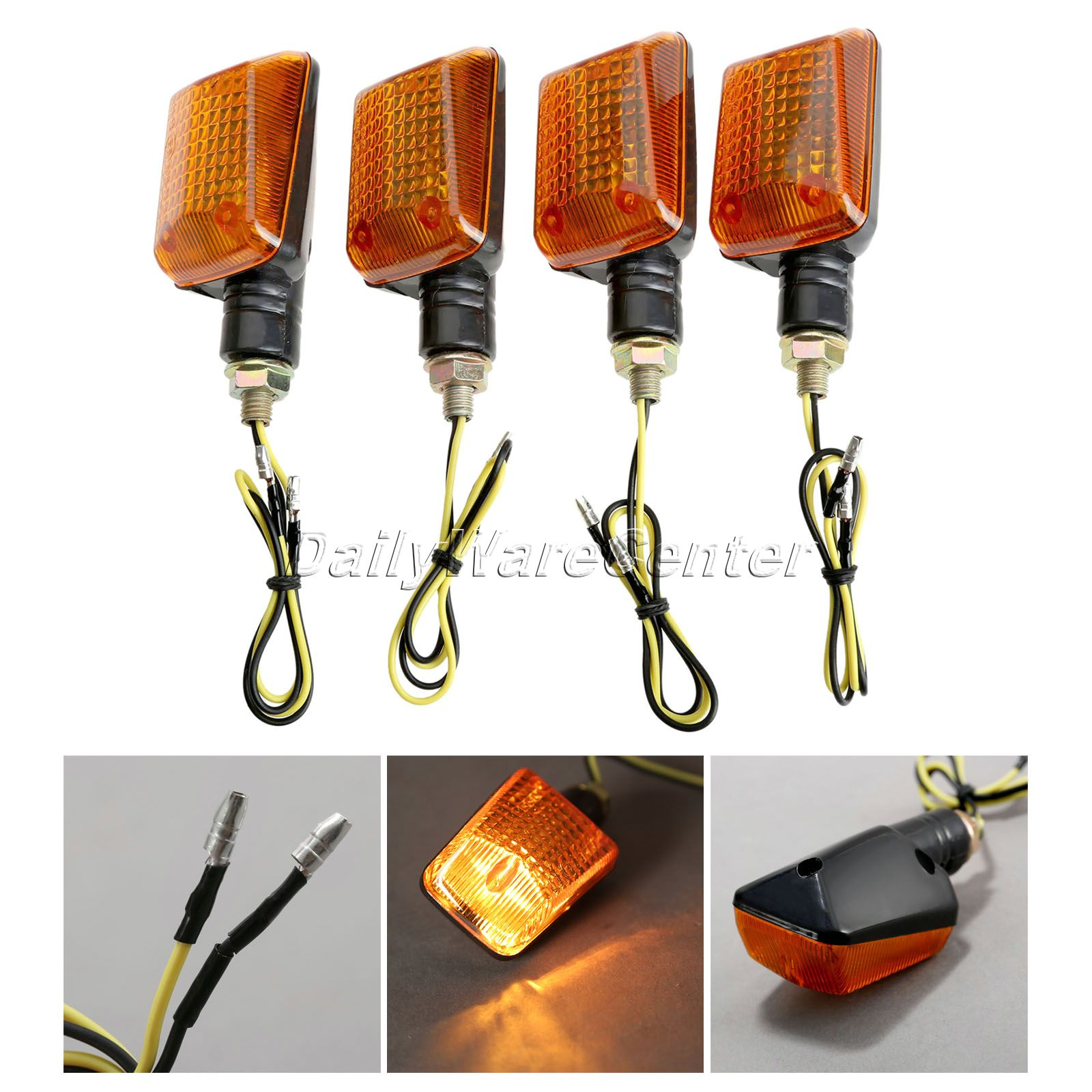 4X Universal Mototcycel 12V Turn Signal Indicator Light Bulb Amber Indicator Blinker Flash Yellow Lense ATV Bike Lamp Motor Part