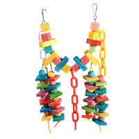 New Wood Colorful Parrot Toys Macaw Chew Toy Pet Bird Toys Hanging Swing Cage Toys For