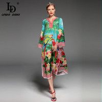2017 Fashion Designer Runway Summer Dress Women S Long Sleeve Sexy Split Parrot Floral Print Beach
