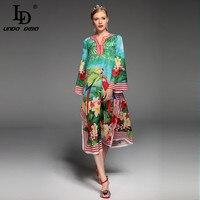 2017 Fashion Designer Runway Summer Dress Women S Long Sleeve Sexy Split Parrot Floral Print Beach