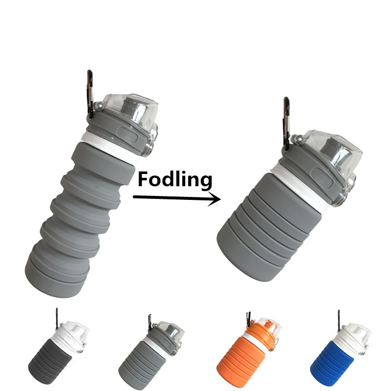 Food Grade Silicone 500ML Creative Collapsible Water Bottles For Sports Drink Camping Travel My Cycling Foldable Bottle FDA Free Бутылка