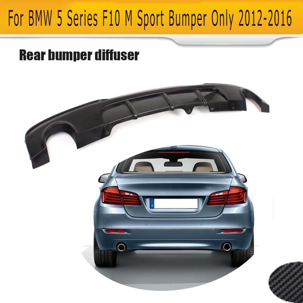 5 Series Half Carbon Fiber rear bumper lip diffuser for BMW F10 M Sport Sedan 12-16 P style dual exhaust one out 528i 530i 550i
