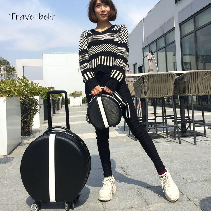 Travel Belt Unique Fashion 18 Inch Size High Quality Oval Rolling Luggage And Handbag Spinner Brand Suitcase