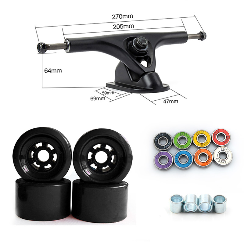 78A 90*52mm Longboard roues PU Skateboard 8 pouces pont Longboard camions ABEC-9 roulements bagues Skateboard route roues camion - 2