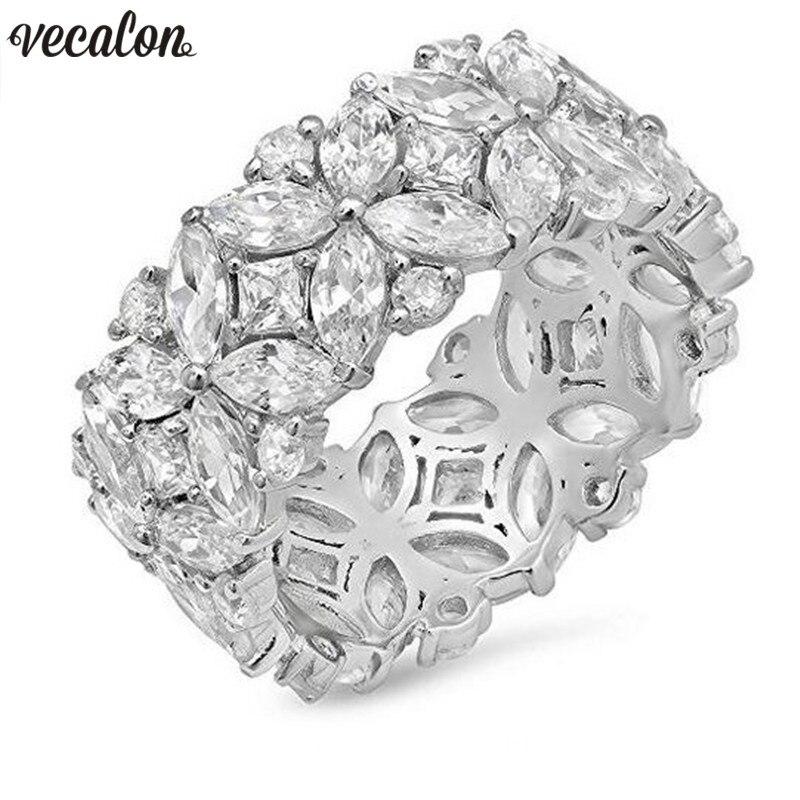 Vecalon Fleur forme Promise Ring Set 925 sterling argent 5A Zircon Cz bagues de Fiançailles pour femmes Hommes Bijoux Cadeau