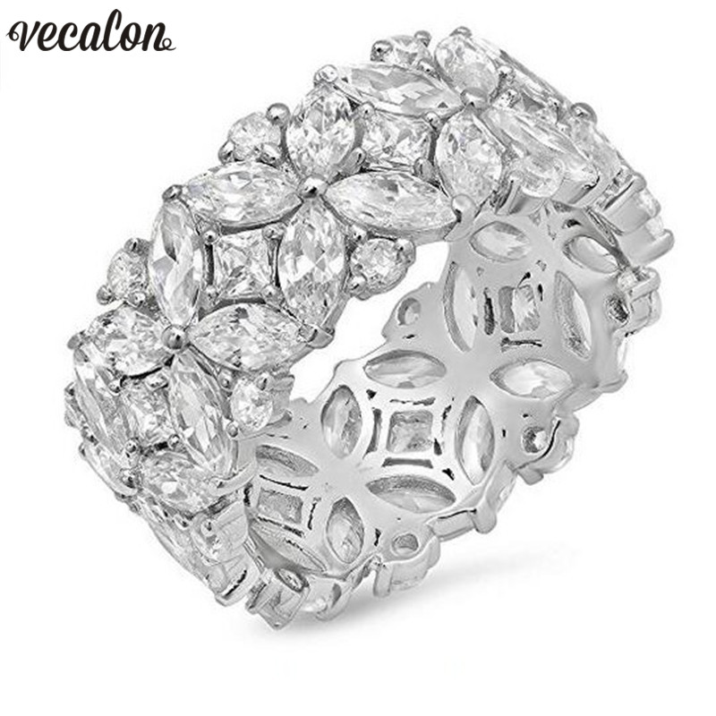 Vecalon Flower shape Promise Ring Set 925 sterling silver 5A Zircon Cz Engagement rings for women Men Jewelry Gift vecalon heart shape jewelry 925 sterling silver ring 5a zircon cz diamont engagement wedding band rings for women bridal gift