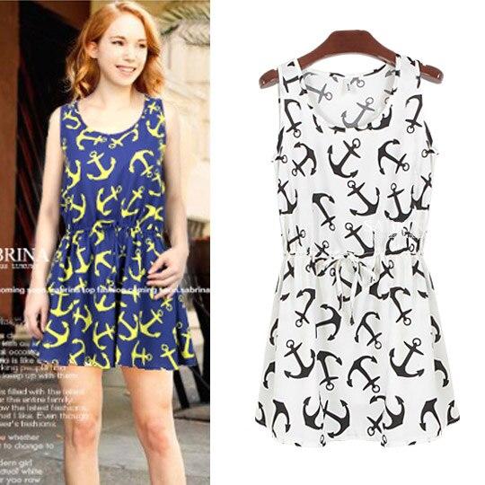 A410 2014 preppy style navy anchor print one-piece dress princess dress summer dress women