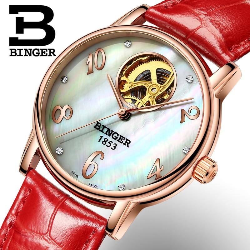 Switzerland Binger Women's watches fashion luxury watch leather strap automatic winding Tourbillon mechanical Wristwatches B553 все цены